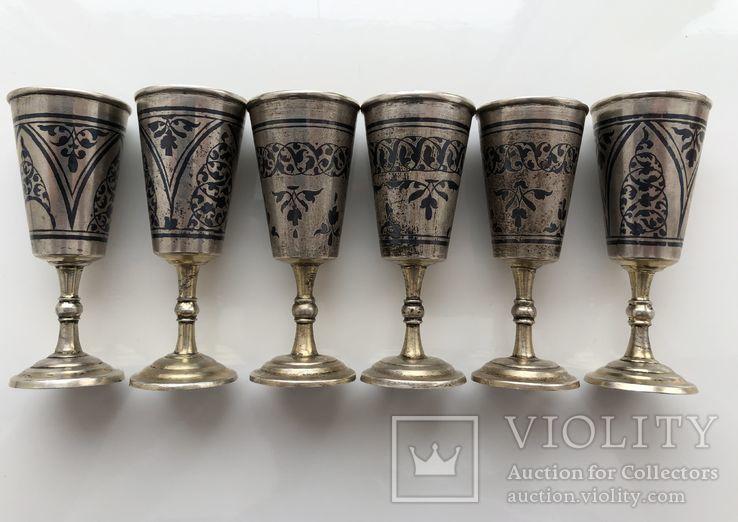 Рюмки серебро чернь 875 пр., фото №3