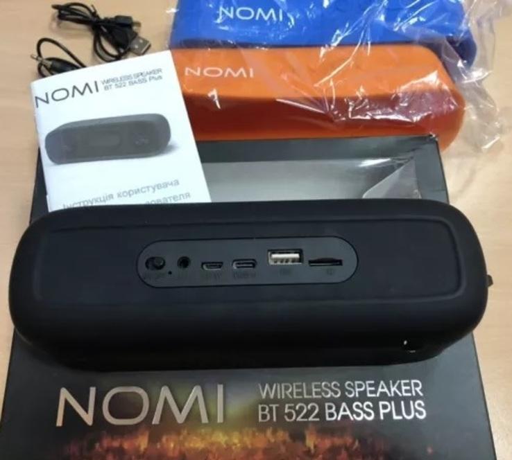 Блютуз колонка - Nomi BT 522 Bass Plus + три чехла Black/Blue/Orange