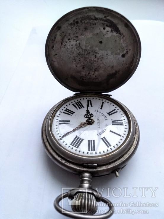 Старинные швейцарские карманные часы System Roskopf Patent,серебро,№ 1295,не рабочие.