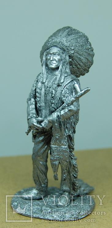 Индеец. Вождь племени с трубкой. 75мм
