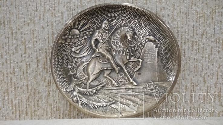 Витязь на коне с копьем латунь 12см., фото №2