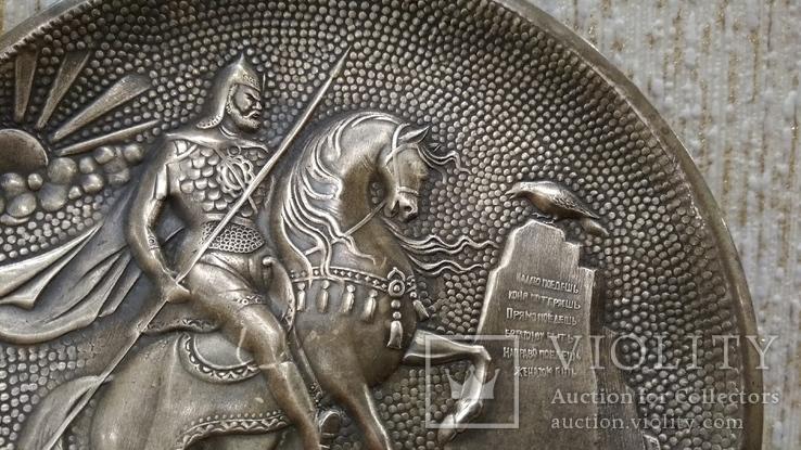 Витязь на коне с копьем латунь 12см., фото №3