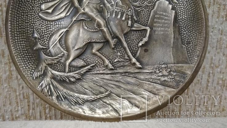 Витязь на коне с копьем латунь 12см., фото №6