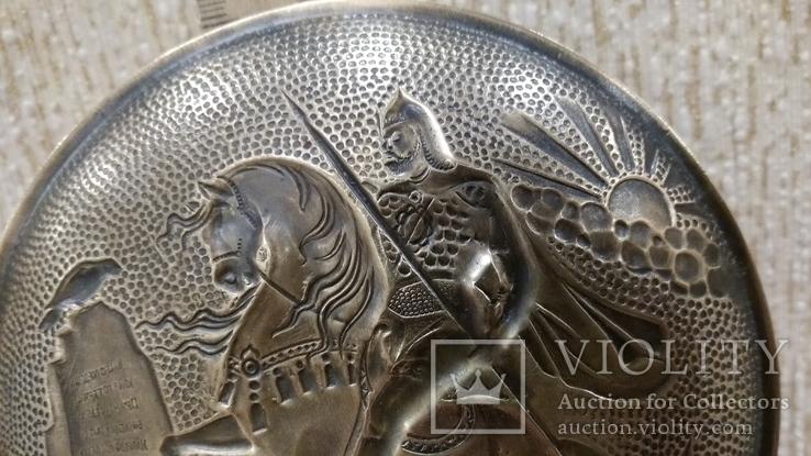 Витязь на коне с копьем латунь 12см., фото №9