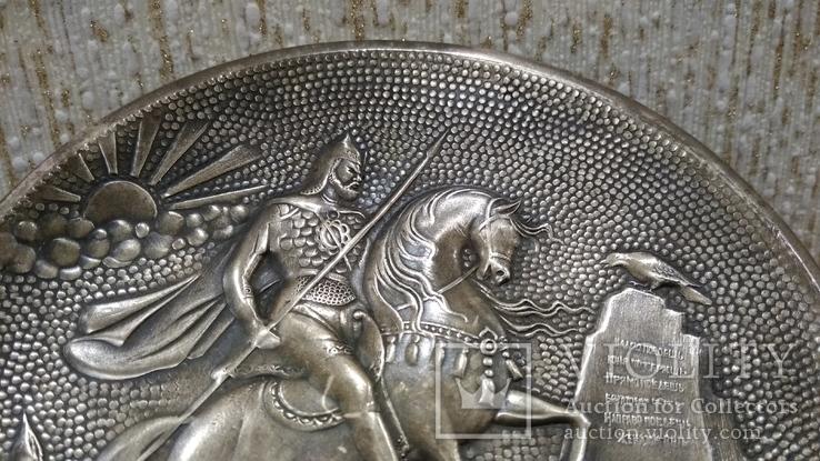 Витязь на коне с копьем латунь 12см., фото №10
