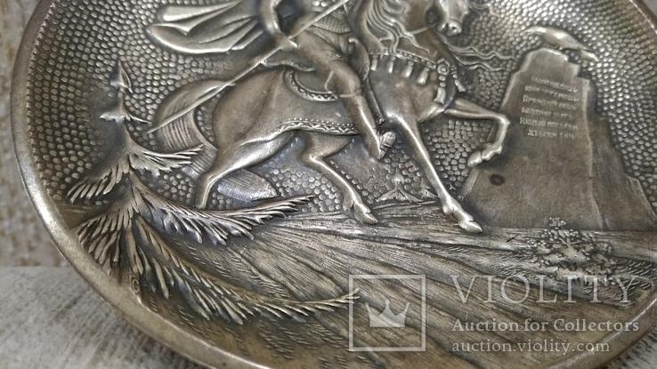 Витязь на коне с копьем латунь 12см., фото №11