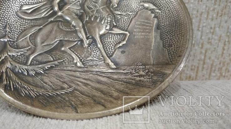 Витязь на коне с копьем латунь 12см., фото №12