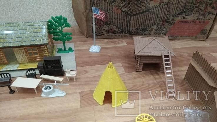 Игровой сет Форт Апачей 20 фигур + декорации 1950-1952гг. пр-ва оригинал США, фото №9