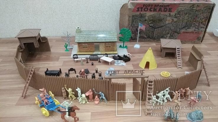 Игровой сет Форт Апачей 20 фигур + декорации 1950-1952гг. пр-ва оригинал США, фото №13