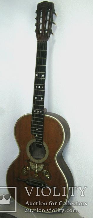 Цыганская гитара 1900 г. А. Ф. Гергардъ Харьков с перламутром, фото №3