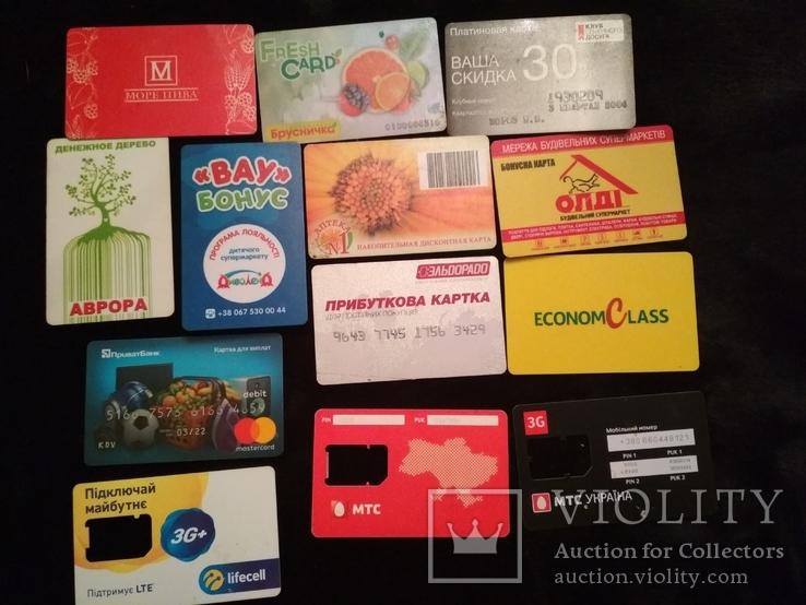 Банковские и накопительные пластиковые карты. Сим-карты., фото №2