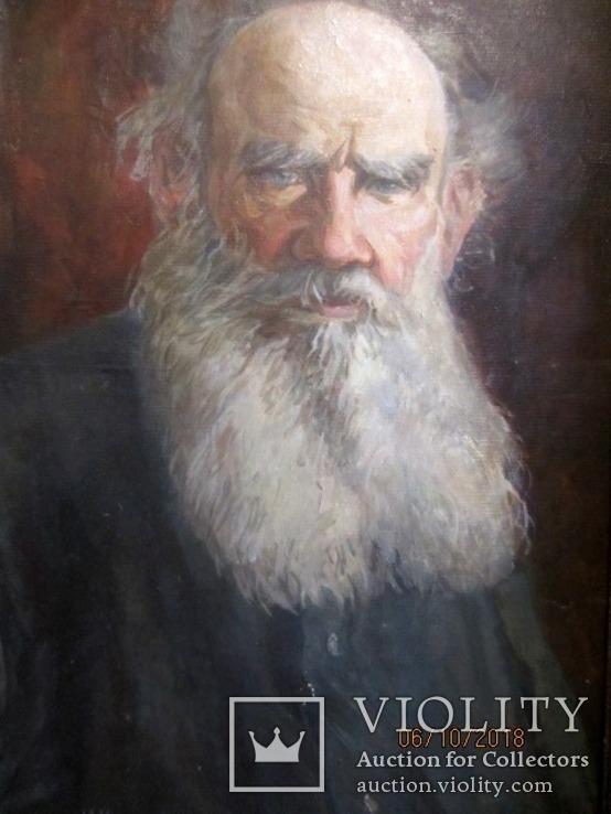"""""""Tолстой""""   портрет холст масло Подпись художника., фото №3"""