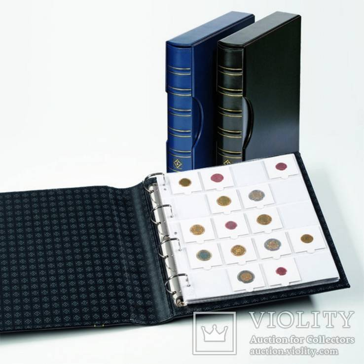 Альбом GRANDE для монет в холдерах на 200 монет, с футляром, синий, фото №2