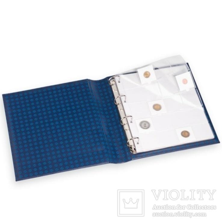 Альбом GRANDE для монет в холдерах на 200 монет, с футляром, синий, фото №3