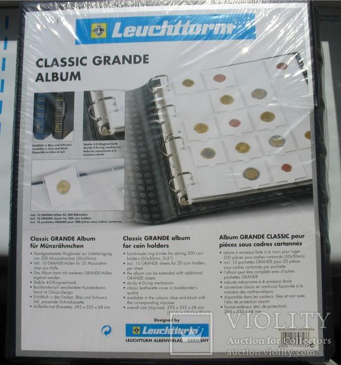 Альбом GRANDE для монет в холдерах на 200 монет, с футляром, синий, фото №4