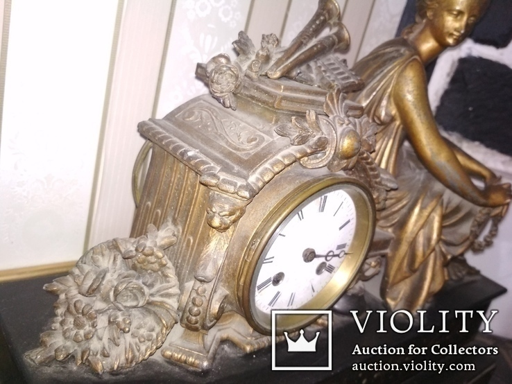 Часы каминные антикварные Жозефина мрамор шпиатр механика, фото №5
