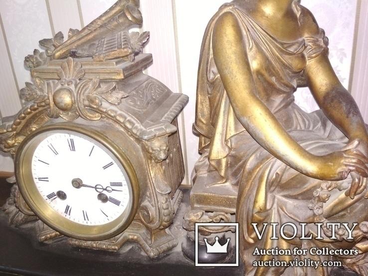 Часы каминные антикварные Жозефина мрамор шпиатр механика, фото №6