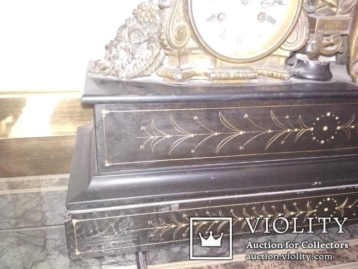 Часы каминные антикварные Жозефина мрамор шпиатр механика, фото №9