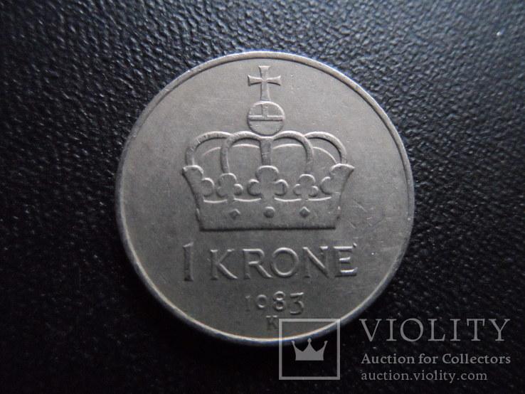 1 крона 1983  Норвегия    (И.6.6)~, фото №3