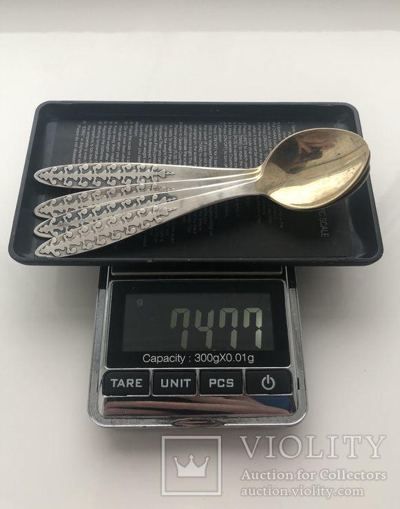 Ложки кофейные серебро 916пр., фото №7