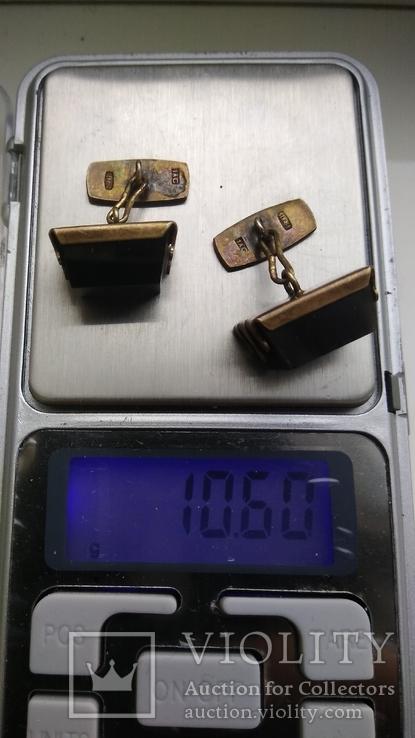 Запонки серебро,позолота,нат.камень 1ас 875пр.звезда 10,6г.