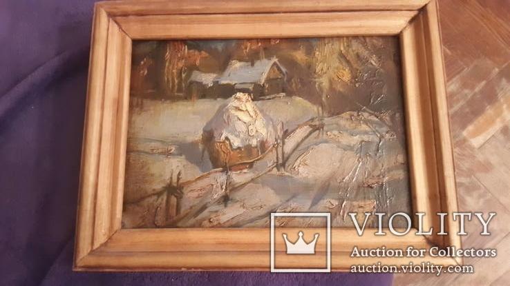 Картина в раме пейзаж,картон,масло с подписью на обороте Гончар