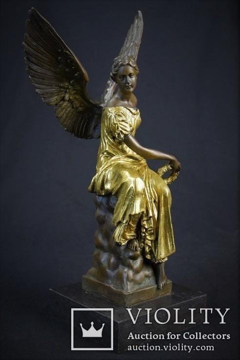Фигурка Статуэтка Ника Богиня Победа Клеймо J. Houdon Бронза Европа