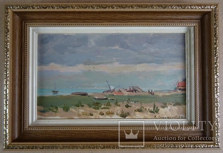 Синицкий В. Пейзаж 17х28,5 см. картон, масло 1954 г.