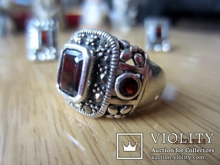 Винтажный набор Кольцо и серьги серебро 925 с гранатом, фото №3