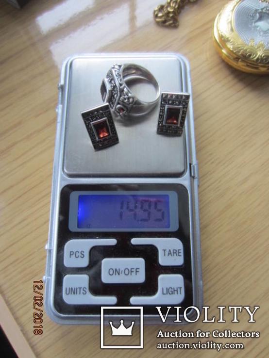 Винтажный набор Кольцо и серьги серебро 925 с гранатом, фото №7