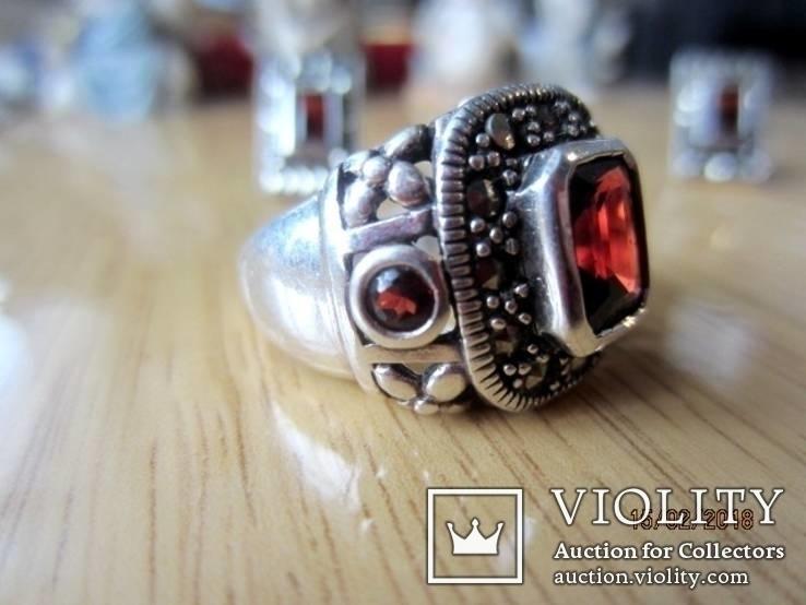 Винтажный набор Кольцо и серьги серебро 925 с гранатом, фото №9