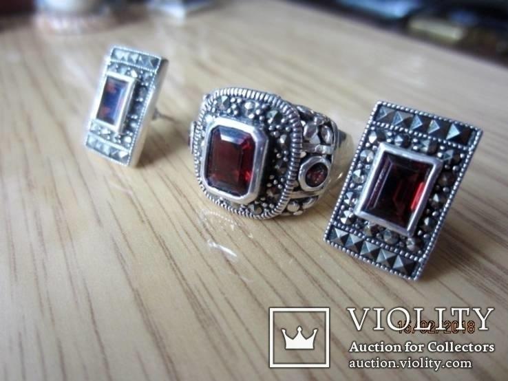 Винтажный набор Кольцо и серьги серебро 925 с гранатом, фото №10