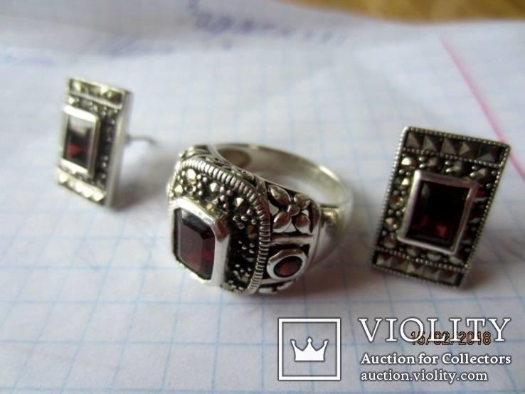 Винтажный набор Кольцо и серьги серебро 925 с гранатом, фото №13