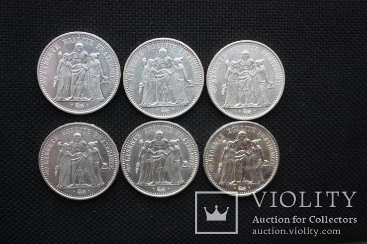 10 франков Геракл и Музы 6 штук в лоте