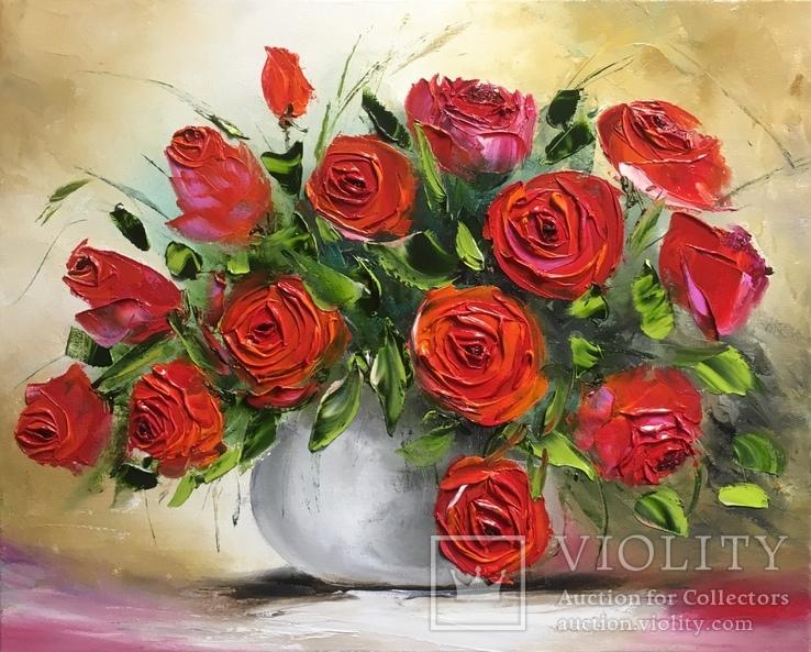 Картина «Красные розы» масло мастихин 40х50 см
