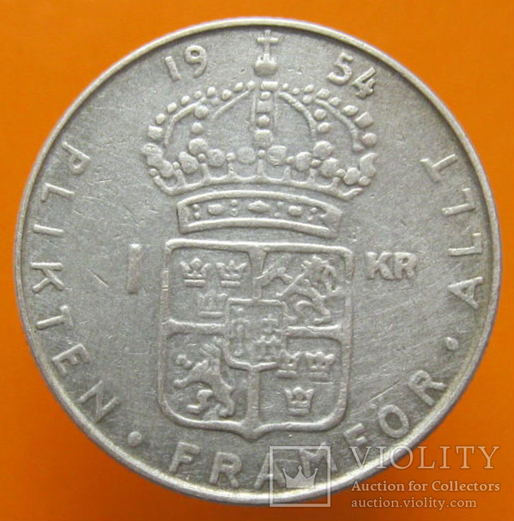 Швеція 1 крона 1954 р., фото №3