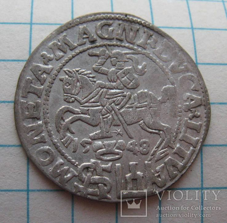 Грош 1548 года Вильно Сигизмунд II Август