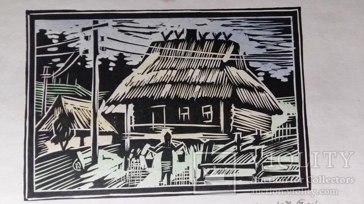 Бойківська хата 1986 Ю. Сімо 4/22 ліногравюра, фото №5