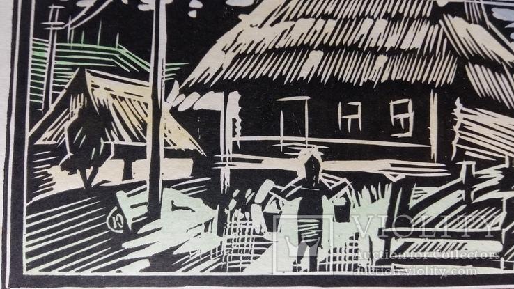 Бойківська хата 1986 Ю. Сімо 4/22 ліногравюра, фото №11