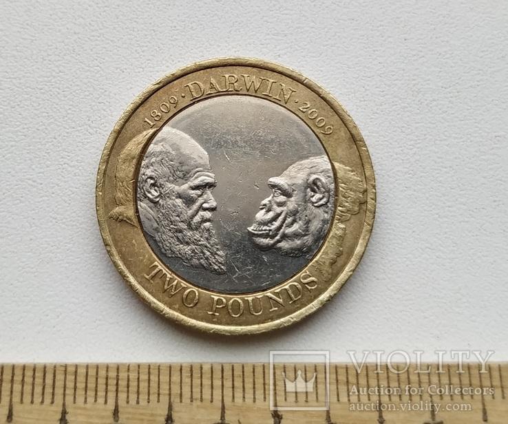 Великобританія 2 фунти 2009 р. Дарвін.
