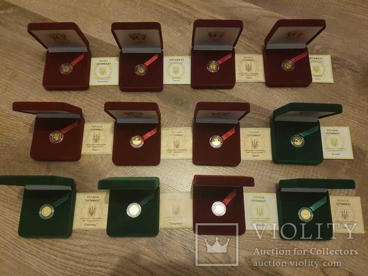 Набір золотих монет знаки зодіака