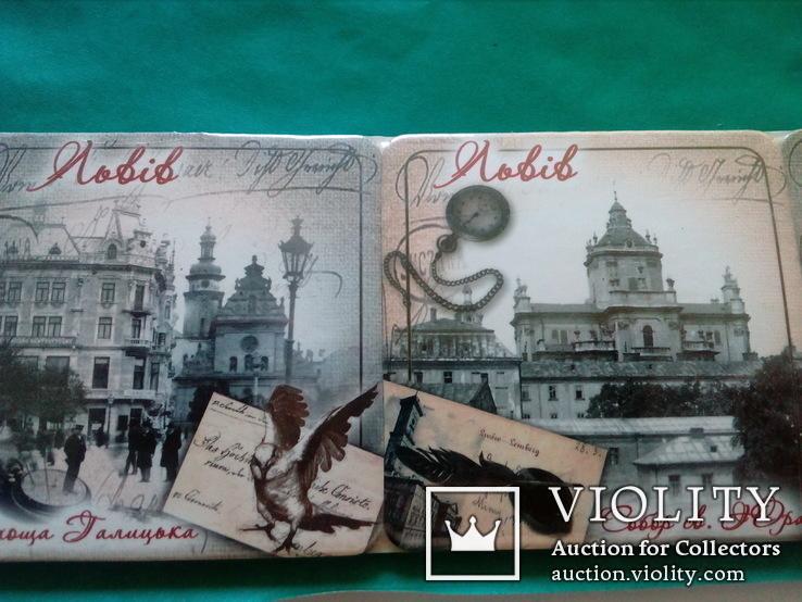 6 подставок под пивные кружки (бирдекелей) с изображением Львова (в запайке), фото №2