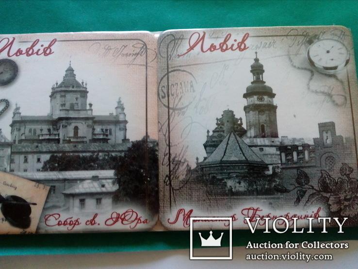 6 подставок под пивные кружки (бирдекелей) с изображением Львова (в запайке), фото №3