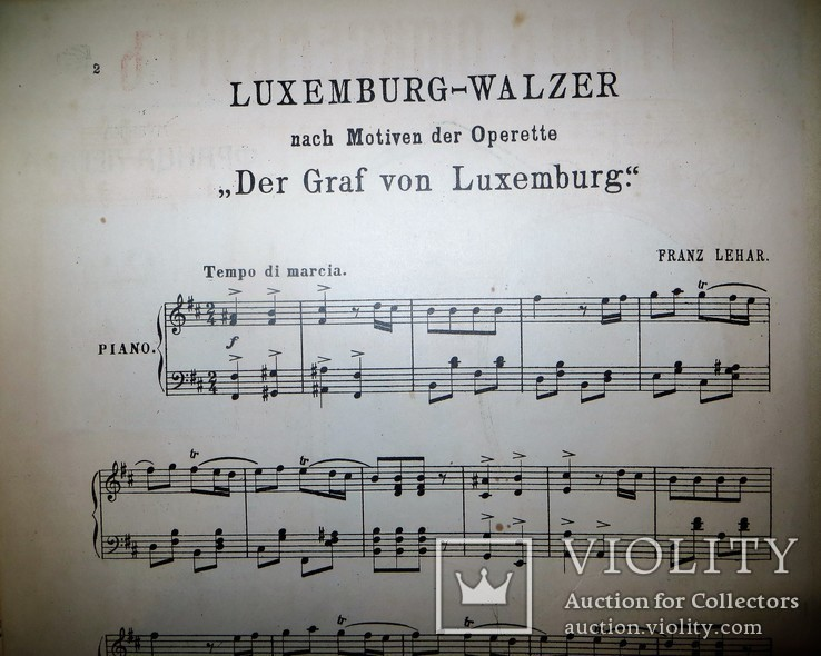 "Ноты.музыка франца легара.вальс.по мотивам оперетты ""граф люксембург"", фото №5"