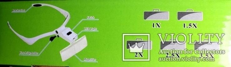 Бинокулярная лупа очки с подсветкой  увеличение 1x - 3,5x, фото №5