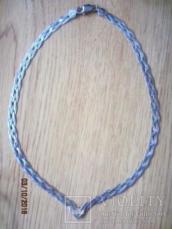 Колье сложного плетения, серебро 925, Италия