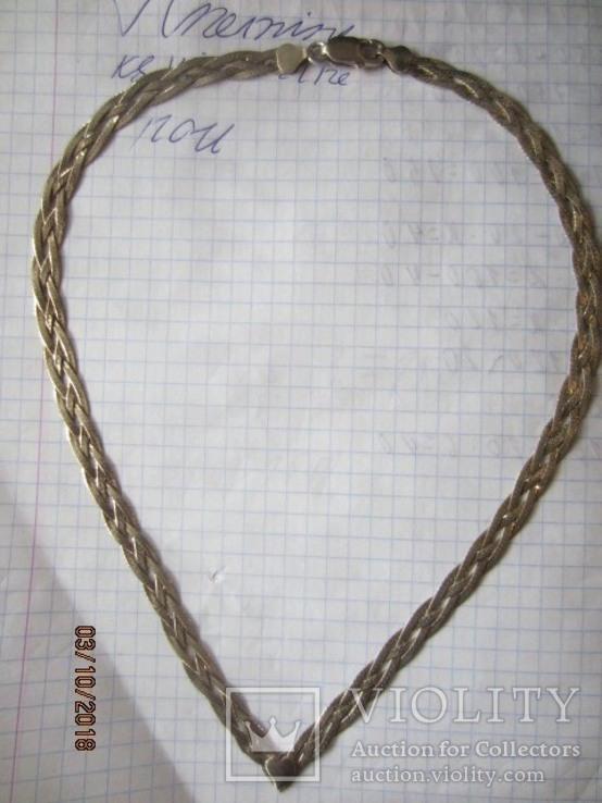 Колье сложного плетения, серебро 925, Италия, фото №5