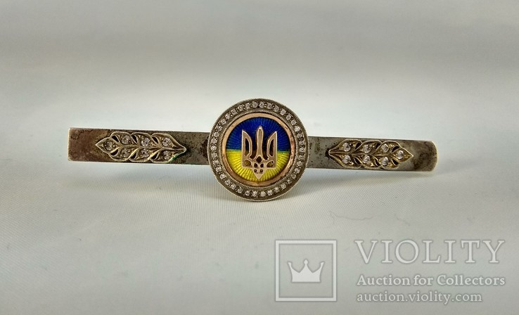 "Зажим для галстука ""Герб Украины""- Серебро + Цирконий, Герб - Золото 585 проба., фото №3"