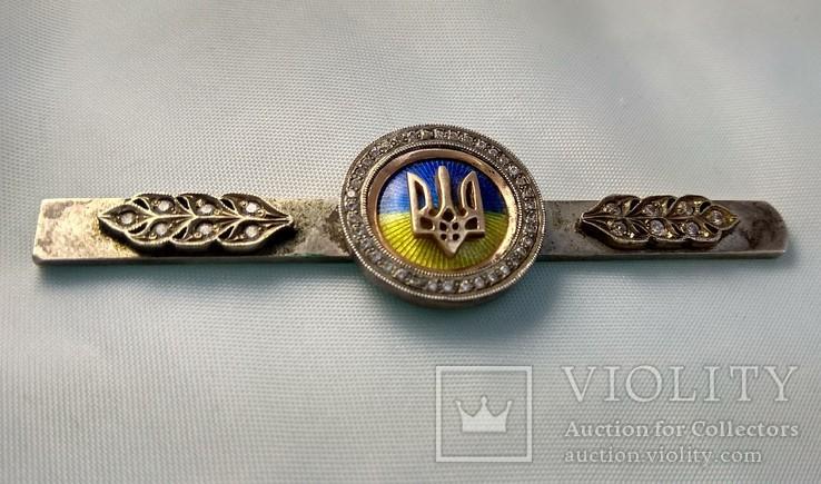 "Зажим для галстука ""Герб Украины""- Серебро + Цирконий, Герб - Золото 585 проба., фото №5"