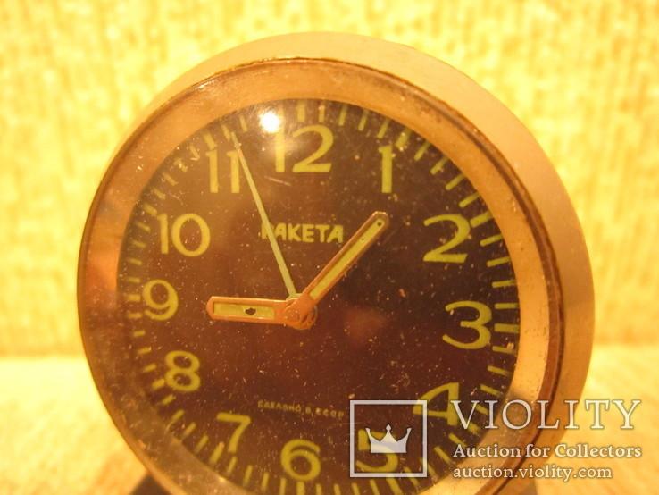 Часы будильник Ракета черный циферблат, фото №3